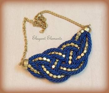 BEST DEAL - Blue resham dori and golden beads necklace