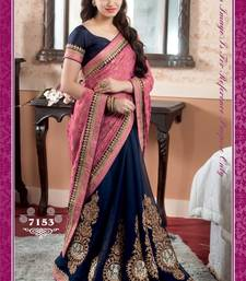 Buy Pink embroidered viscose Saree with blouse bridal-saree online