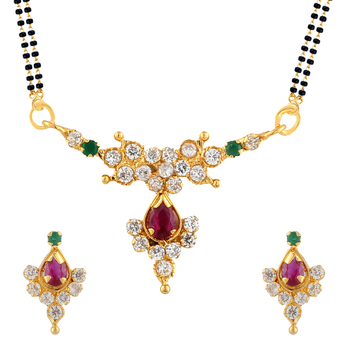 White Mangalsutra Set With Earrings