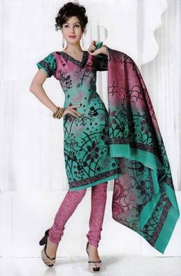 Elegant Spun Cotton Designer Unstitched Salwar Suit D.No 3090