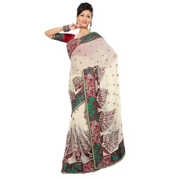 Hypnotex Pure Chiffon and Taar Skirt Border Off White Color Designer Saree Richee9052A