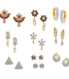 Buy Multi_Color Combo of 2 Bali, 6 Studs Earrings & 2 Solitaire Earrings combo-earring online