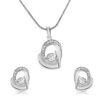 Mahi Rhodium Plated Bejeweled Pendant set