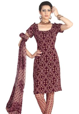 Fabdeal Maroon French Crepe Dress Material