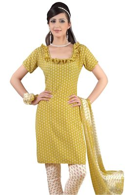 Fabdeal Yellow & White French Crepe Dress Material