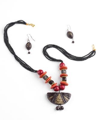 Handmade Designer Terracotta Necklace and Earring Set
