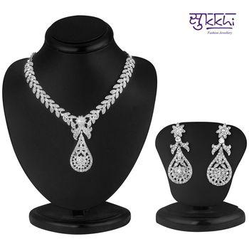 Sukkhi Pleasing Rhodium plated AD Stone Necklace Set