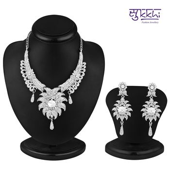 Sukkhi Ritzzy Rhodium plated AD Stone Necklace Set