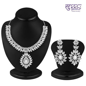 Sukkhi Incredible Rhodium plated AD Stone Necklace Set