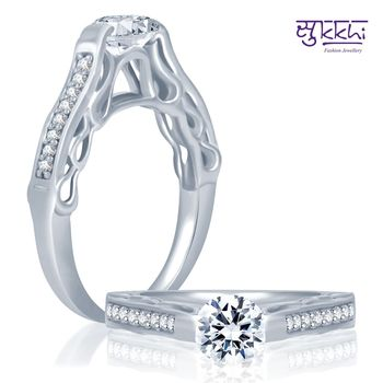 Sukkhi Round Rhodium Plated CZ Ring