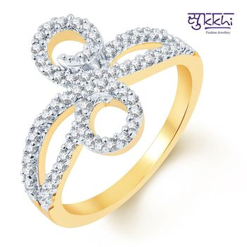 Sukkhi Enchanting Two Tone CZ Studded Ring