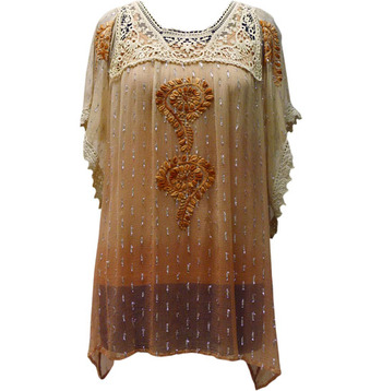 Lace & Embroidery Work Beige & Brown Color Dress
