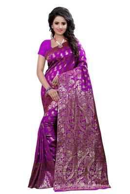 Purple plain Banarasi Silk saree with blouse