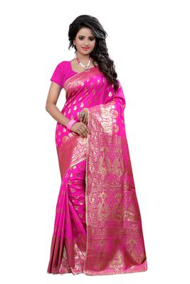 Pink plain Banarasi  Silk saree with blouse