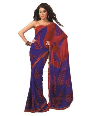 Bollywood Designer Weightless Georgette Saree With Elegant Border & Blouse Piece 4014A