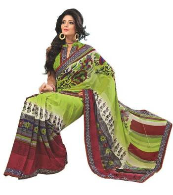 Bollywood Designer Weightless Georgette Saree With Elegant Border & Blouse Piece 4023A
