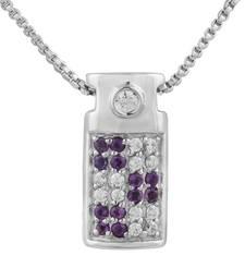 Buy Beautiful 925 Sterling Silver Amethyst and Cubic Zirconia Gemstone Pendant Pendant online