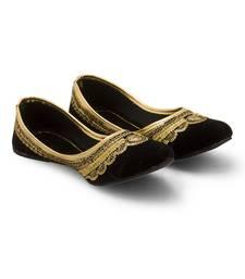 Buy Black Velvet party wear traditional footwear for women footwear online