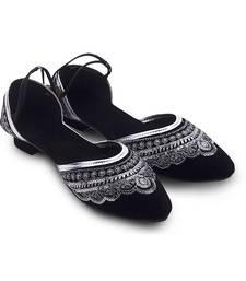 Buy Black Synthetic Leather wedding wear traditional footwear for women eid-footwear online