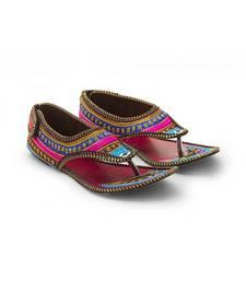 Buy multicolor Synthetic Leather wedding wear traditional footwear for women footwear online
