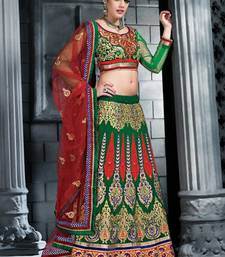 Buy Weding Special Offer Green Georgette embroidered unstitched lehenga-choli lehenga-choli online