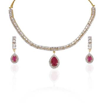 Heena Chain multicolour stones necklace set
