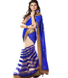 Buy Blue plain net saree with blouse party-wear-saree online