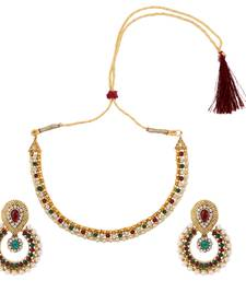 Buy Maroon green pearl polki earring necklace jewelry Indian set necklace-set online