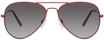 Red Metalic Frame Black Gradient Lens Aviator Sunglasses
