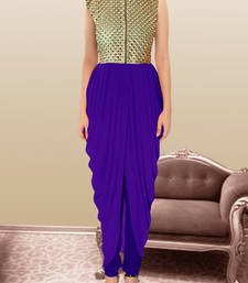 Buy Blue gorgette and  brocade embroidered semi stitched salwar with dupatta party-wear-salwar-kameez online