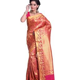 Buy Fuschia Pink and Golden  woven art silk saree with blouse kanchipuram-silk-saree online