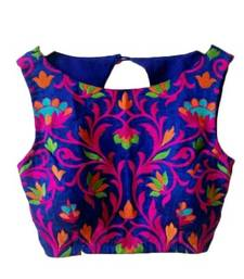 Buy  Blue embroidered Raw Silk unstitched blouse blouse-fabric online