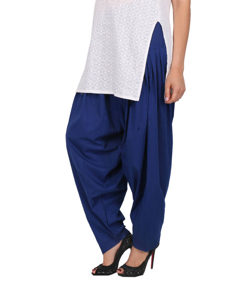 Buy Ink Blue Pure Cotton Semi Patiala Bottoms Online