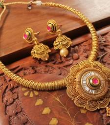 Buy Gorgeous antique designer kundan -ruby necklace set necklace-set online