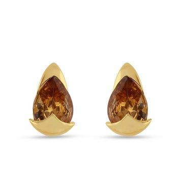 Crystal Brass, Alloy Stud Earring