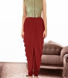 Buy Maroon gorgette and  brocade embroidered semi stitched salwar party-wear-salwar-kameez online