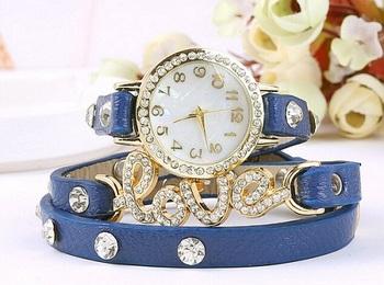 Fency Bracelet Watch-Love Diamond (Blue)