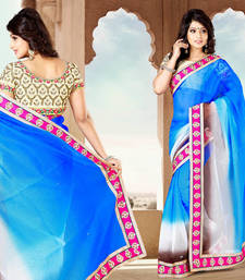 Buy Multicolor embroidered cotton saree with blouse party-wear-saree online