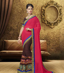 Buy Red and brown embroidered georgette saree with blouse party-wear-saree online
