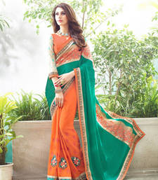 Buy Green and Orange embroidered Georgette saree with blouse party-wear-saree online