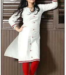 Buy white cotton plain kurti cotton-kurtis online