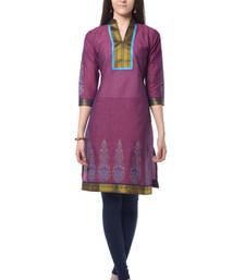 Buy Purple Block Print Cotton Kurti long-kurti online