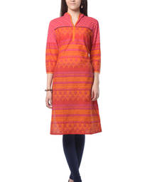 Buy Pink & Orange Printed Kurti long-kurti online