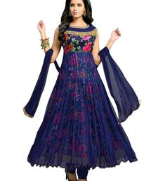 Navy Blue embroidered Net semi stitched salwar with dupatta shop online