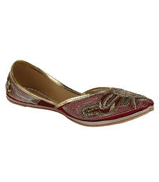 Buy Red Fabric and Leather Ladies footwear wedding-season-sale online