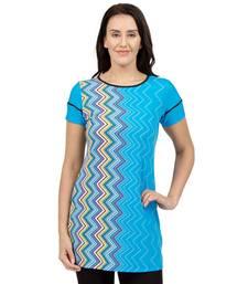 Buy Blue plain Knit tunics tunic online