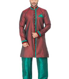 Buy red  indo western kurta set with velvet colllar and full panel patti and buttons indo-western-dress online