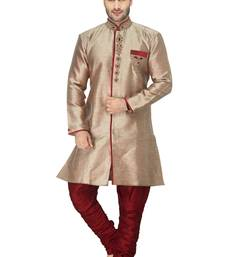 Buy marron indo western kurta set with hand embroided buttons and collar and velvet collar with hand work indo-western-dress online