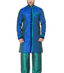 Buy blue indo western kurta set with velvet colllar and full panel patti and buttons indo-western-dress online