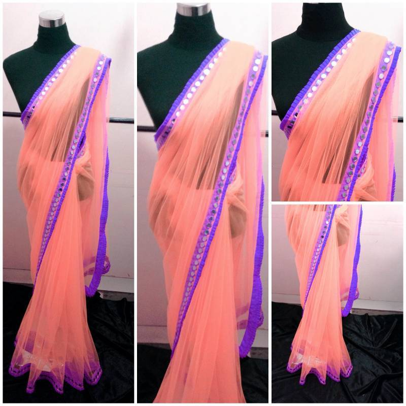 Buy peach and purple mirror work saree online for Mirror work saree